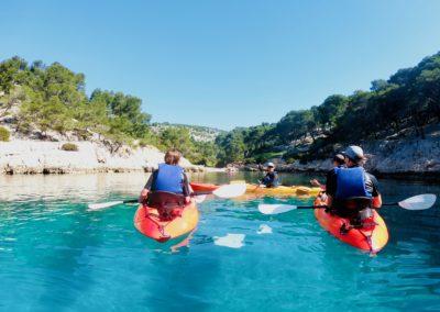 "alt=""calanque de port-pin en randonnées kayak de mer avec calanques immersion"""